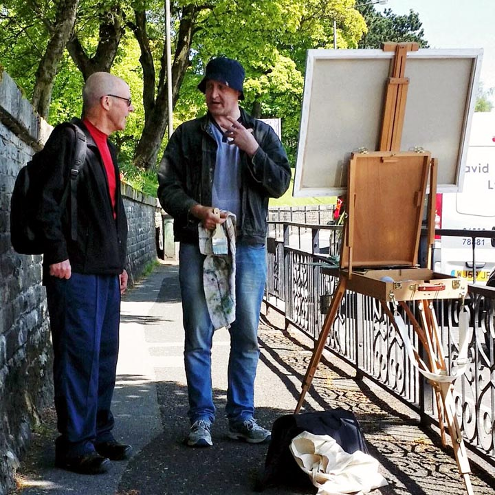 Stephen James Cross painting en plein air