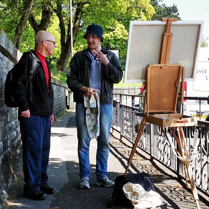 Stephen James Cross painting en plein air